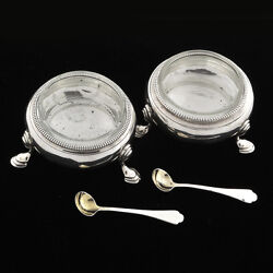 Antique 19th C. Pair London Sterling Salt Cellar By E B With Liners And Spoons