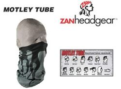 Zan Headgear Motley Tube Facemask Grey W/ Black Flames Avail Motorcycle Crusing