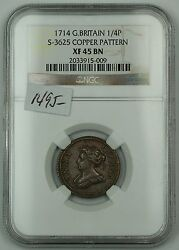 1714 Great Britain 1/4p Coin Farthing S-3625 Copper Pattern Ngc-xf-45 Bn Akr