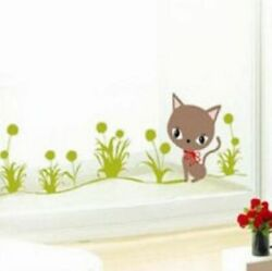 Kitty Cat with Butterflies Nursery Childrens Wall Sticker Decoration Wall