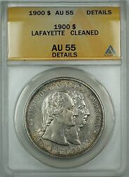 1900 Lafayette Commemorative Silver Dollar 1 Coin Anacs Au-55 Details Cleaned