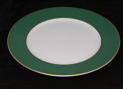 A. Raynaud And Co. Murat Dinner Plate Green/white With Gold Incrustation