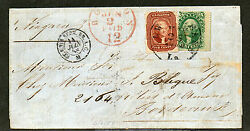 Us Sc 28 And 33 New Orleans To France May 25 1858 15c Rate Cv 5550 Rare
