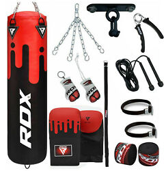 Rdx 5ft Filled Boxing Punch Bag Set With Gloves Chains Ceiling Hook Mma Training