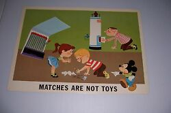 1964 Disney Fire Prevention Poster Matches Are Not Toys 18x13 100-c Mickey