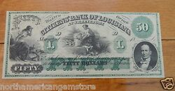 1800's Fifty Dollars50 Lousiana Obsolete Banknote - The Bank Of Louisiana Unc