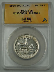 1936 Wisconsin Silver Half Dollar Commemorative Coin Anacs Au 50 Details Cleaned
