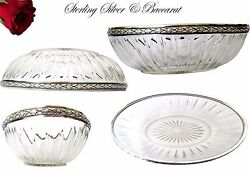 French Sterling Silver Fruit Bowl Or Bread Basket And Baccarat