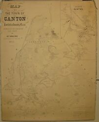Antique 1855 Hf Walling Town Of Canton Massachusetts Wall Map - Scarce