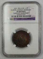 1691 Ireland 12P Coin S-6594 Limerick Besieged NGC XF Dtls Surface Hairline AKR