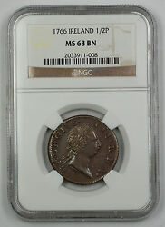 1766 Ireland 12 Penny Coin George III NGC MS 63 BN Brown AKR