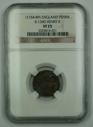 1154-89 England One Penny Silver Coin S-1340 Henry Ii Ngc Vf-25 Akr