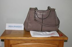 Brand New Auth Coach Madison Caroline Satchel In Textured Leather - Ash Nwt