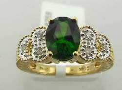 14kt Yellow Gold 1.41 Cttw Chrome Diopside And Diamond Ring Sz 5.5 31r 160-10759