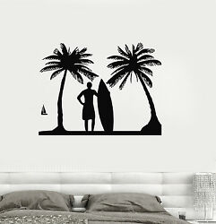 Vinyl Decal Surf Relax Beach Vacations Surfing Palm Wall Stickers ig518