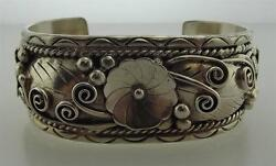 925 Sterling Silver Fred James High Detail Native Cuff Bracelet M 332-10016