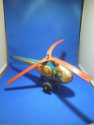 Vintage 1960s J. Chein Tin Toy Town Airways Helicopter Wind Up Toy