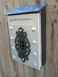 Vintage Restored Silver And Black Arts And Crafts Iron Brass Mailbox Wmail Slot