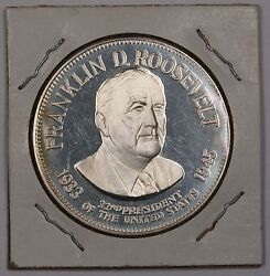 Franklin D Roosevelt Fdr Proof Silver Medal With Information On The Reverse