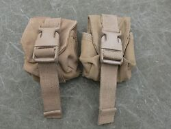 Usmc Molle Ii Hand Grenade Pouches, Coyote Brown Lot Of Two 2 Very Good