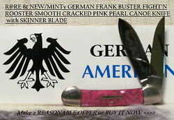 Rare New/minty German Frank Buster Fightandrsquon Rooster Pink Cracked Pearl Canoe Knif