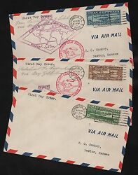 #C13-C15 COMPLETE SET OF F.D.C. (2) COVERS ON FIRST FLIGHTS CV $3200++ WL6612