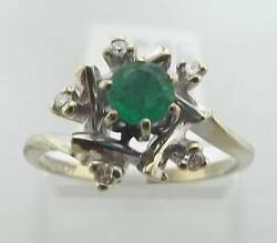 14kt White Gold .58cttw Round Emerald And Diamond Ring Size 6.5 47r 140-10144