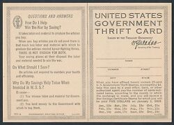Series 1917 Ws1 Trift Card Unused For Ws1 -- Rare -- Br5415