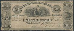 1000 Miss. And Alabama Railroad Co 1838 Obsolete Note S/n 17 Vf Ext Rare Wl6738