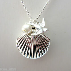 Little Sea Shell Mermaid Locket Silver Plated Summer Necklace Photo Pendant UK $5.29