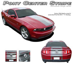 Pony Center 22 Inch Wide Mid Hood-rear Stripe Decal Graphic 2010-2012 Gt Mustang