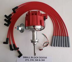 Dodge Small Block 273 318 340 360 1964-89 Hei Distributor And Red Spark Plug Wires