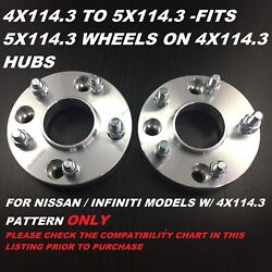 4x114.3 To 5x114.3 5 Lug Conversion Wheel Adapters Spacers 12x1.25 66.1 Cb