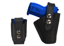 Barsony OWB Black Leather Belt Holster wMag Pouch Ruger Kel-Tec Mini 22 25 380