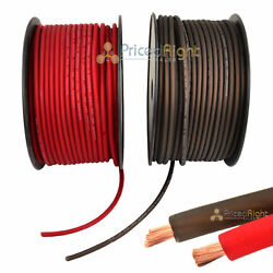 50and039 Super Flexible 8 Gauge Power And Ground Wire / Cable 25and039 Red 25 Ft Black