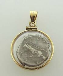 14kt Yellow Gold Silver Ancient Roman Coin Capsule Pendant 18p 539-10005