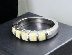And Co Vintage Rare Stone Inlaid Sterling Silver 43.2 Gram Smooth Bracelet