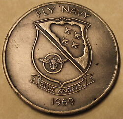 Blue Angels Demo Squadron 1969 Navy Air Station New Orleans Challenge Coin / Sil