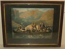 ANTIQUE Currier & Ives Schl *THE HIGHLAND FERRY BOAT* Lithograph w Horse Dog ++