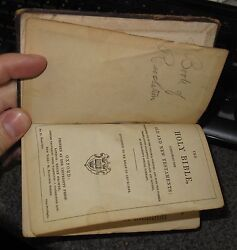 Vintage Oxford 1877 Pocket Holy Bible Old And New Testament