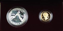 1988 Us Mint Olympic Commemorative 2 Coin Silver And Gold Proof Set As Issued Dgh