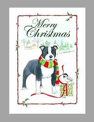 Staffordshire Bull Terrier Dog Christmas Cards Boxed 16 Cards amp; 16 Envelopes