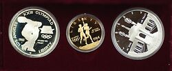 1983-84 Us Mint Olympic Commem 3 Coin Silver And Gold Proof Set As Issued Dgh