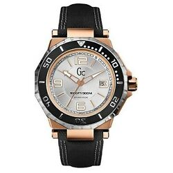 New Guess Collection Gc Watch 2 Tone Rose Gold And Ss Date Black Strap X79003g1s