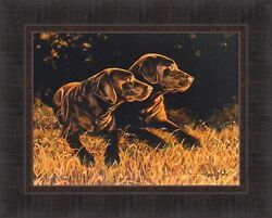 Time Out By Bonnie Mohr Chocolate Lab Puppies Dogs 17x21 Framed Wall Art Picture