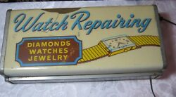 Lighted Vintage Watch Repairing Sign Diamonds Watches Old Jewelry Store Sign