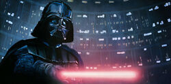 Darth Vader Lightsaber Useless To Resist The Dark Side Of Force Giclandeacutee On Canvas