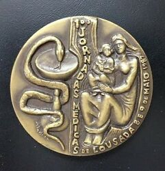 Medicine Caduceus Snake / Mother And Baby / Grapes Coat Of Arms Bronze Medal M58