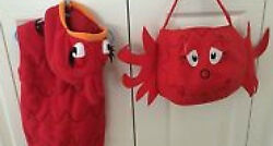 Pottery Barn Kids Red Fish Costume 2-3 2t-3t New/nwt With Treat Bag