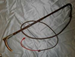 Antique Bamboo Hallmarked Hunt Plaited Silver Whip And Lash.1891.merry St James